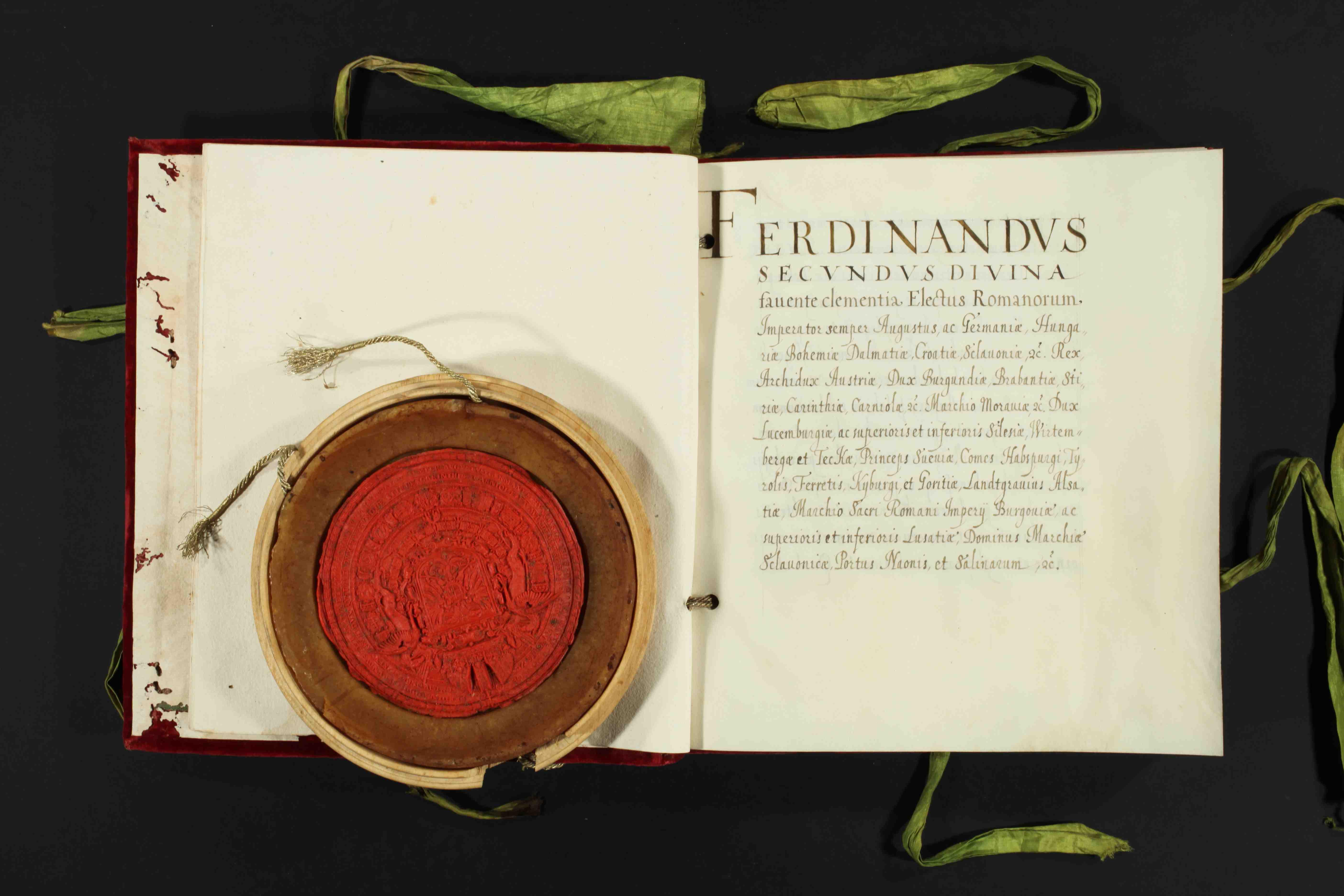 Investitura del duca Francesco I da parte dell'imperatore Ferdinando II. 10 novembre 1629. Modena, Archivio di Stato, Archivio Segreto Estense, Casa e Stato, cass. 36.