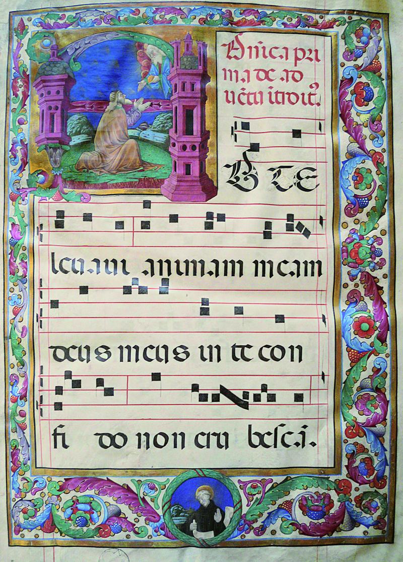 Francesco da Castello, Primo Maestro dei Corali di San Sisto, Re Davide in preghiera dinanzi a Dio Padre. Collezione privata, Graduale 1, f. 1r.