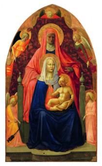 Masolino e Masaccio, Madonna con il Bambino, sant'Anna  e cinque angeli, 1424-1425 circa, Firenze, Galleria degli Uffizi.