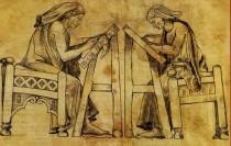 Miniatori all'opera, una delle tavole didattiche del nuovo Museo del Libro di Burgos.