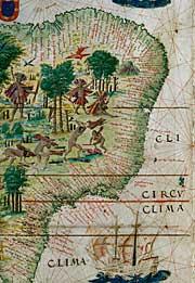 Un particolare dell'Atlante Miller della BnF raffigurante le coste del Brasile.