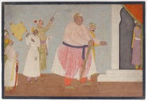 Un grasso Raja attraversa un cortile aiutato da un cortigiano, miniatura attribuita a Nainsukh, 1763-1770.