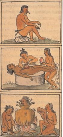 Una tavola del Codice fiorentino di Bernardino da Sahagún con un sacrificio umano e pratiche  antropofagiche.