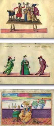 Tre tavole dell'album Commedia dell'Arte proposto da Pregliasco.