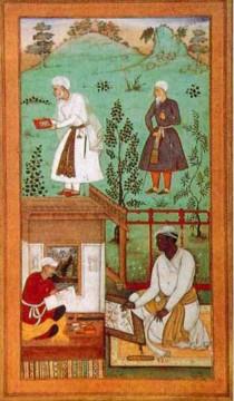 Artisti al lavoro, miniatura moghul dell'epoca di Akbar.