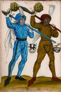 Due corridori di Schempart Lauf in un manoscritto tedesco del primo Cinquecento.