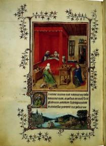 Il foglio con La nascita del Battista delle Ore di Torino-Milano.
