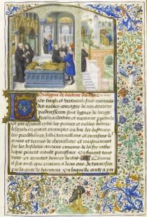 La scoperta della tomba di Gillion de Trazegnies sepolto tra le due mogli (dal Roman de Gillion de Trazegnies).