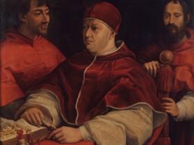 Leone X con i cardinali Giulio de Medici e Innocenzo Cybo