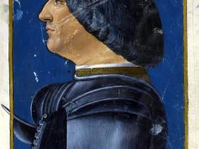 """Ambrogio de' Predis, Ritratto di Ludovico il Moro. Miniatura tratta dal codice """"Grammatica Sforza"""""""