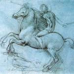 Leonardo, Studio per il monumento equestre a Francesco Sforza (1482-1493). Mai realizzato.