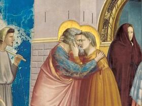 Giotto, L'incontro alla Porta Aurea, particolare del bacio (Cappella degli Scrovegni, Padova)