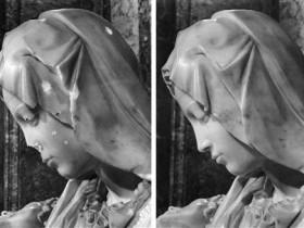 Michelangelo, Pietà (particolare del volto)
