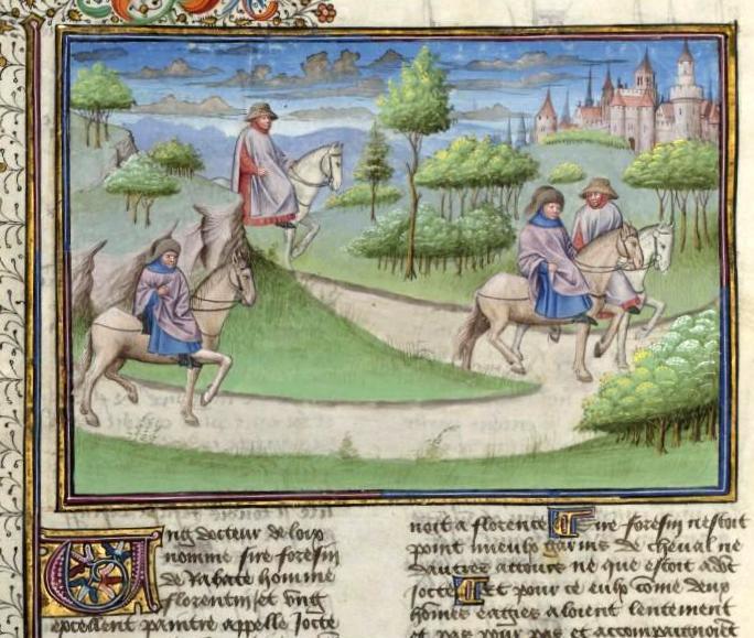 Forese da Rabatta e Giotto, mentre tornano dal Mugello, si incrociano. L'uno deride l'aspetto dell'altro, che risponde mordace