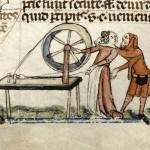 Amori alla filanda - 'Smithfield Decretals' (fine XIII-inizi XIV secolo), British Library, Londra.