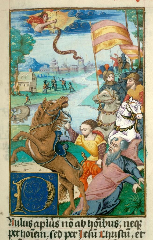 Conversione di San Paolo dans immagini sacre Bibbia-XVI-secolo-BM-Valenciennes-655x1024