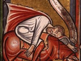 Miniatura tratta da Bibbia figurata (1290-1300), Koninklijke Bibliotheek, L'Aia