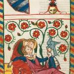 Io e te e il falcone - 'Codice Manesse' (1304-1340 circa), Biblioteca dell'università di Heidelberg.