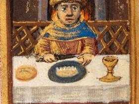 Pranzo, miniatura medievale
