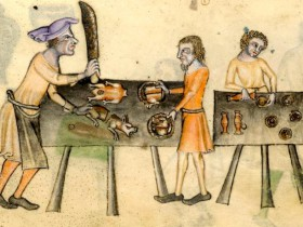 inspiration-of-medieval-language-literature-daily-life-in-the-chansons-de-geste-22cooking22-from-the-luttrell-psalter-c-1340
