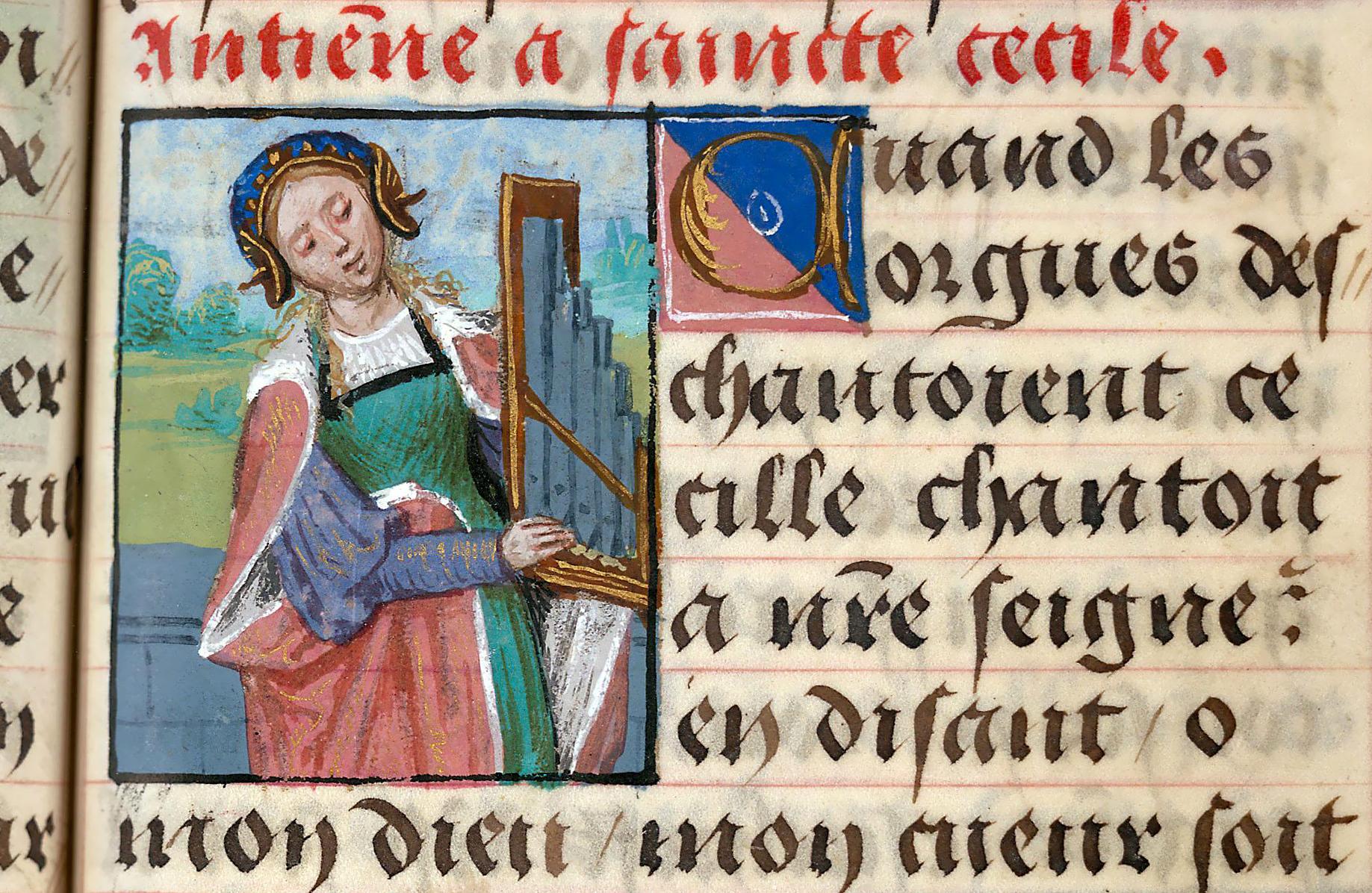 Santa Cecilia che suona l'organo