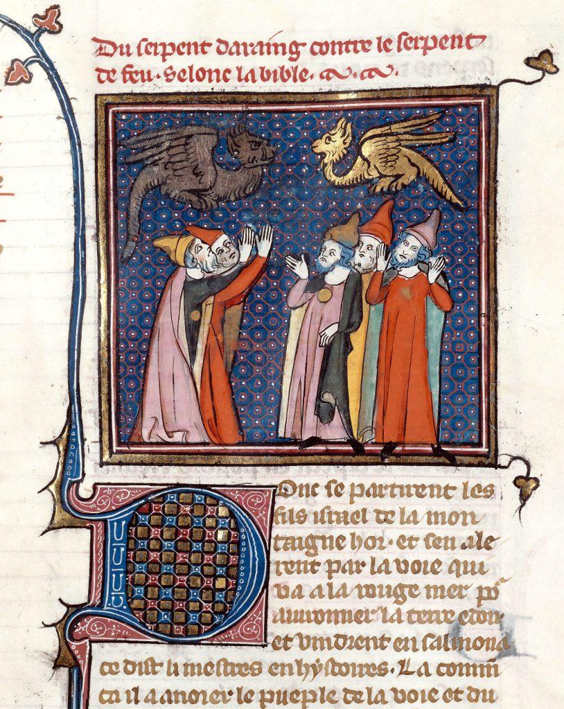 """Miniatura tratta da una """"Bible Historiale"""", ms. 0059, c. 101r, 1330 circa, Médiathèque du Grand Troyes, Bibliothèque Municipale, Troyes."""