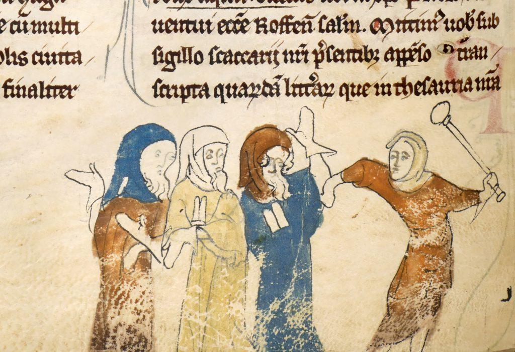 """""""Ebrei perseguitati"""", miniatura tratta dal manoscritto """"Cronache del Priorato della Cattedrale di Rochester"""", ms. Cotton MS Nero D II, c. 183v, fra il 1100 e il 1650, British Library, Londra."""