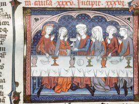 Giovane donna corteggiata durante un pasto