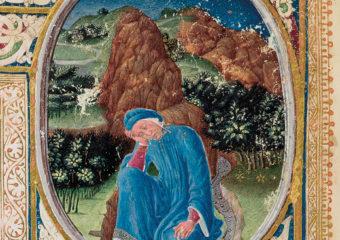 Miniatura dalla Divina Commedia di Dante Alighieri, Ms. Urb. lat. 365, c. 1r, 1478-1482, Biblioteca Apostolica Vaticana.
